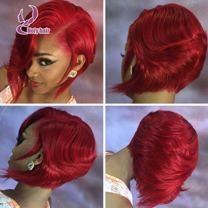 Charming red layered hair full lace&lace front bob wig 8