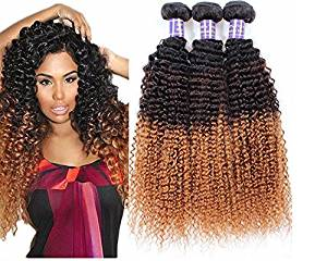 Wigsforyou@Grade 7a Human Hair 100% Virgin Brazilian Human Hair Extensions Deep Curly Wave 3 Tone Color 1B/4/30 Color 50g/pc Total 50g