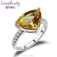 Trillion Citrine Diamond Ring,18kt White Gold Diamond Yellow Citrine Ring For Sale WU103