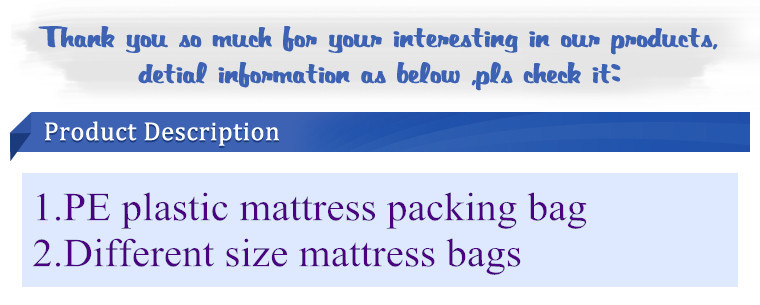 vacuum seal storage space plastic bag for packing queen mattress