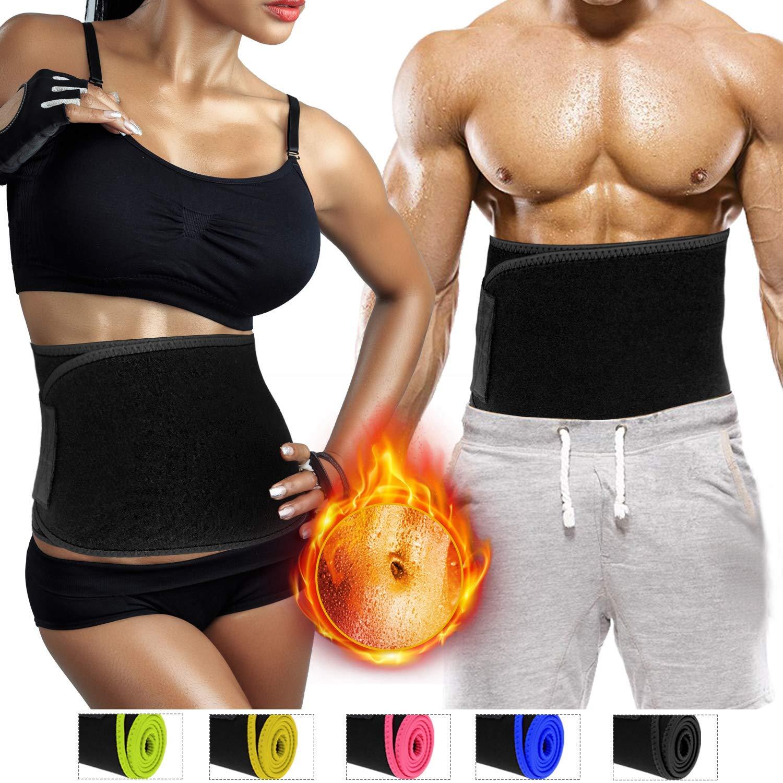 Biange Waist Trimmer Belt for Men & Women, Waist Trainer, Weight Loss Slimmer Sauna Belt, Low Back Lumbar Support, Wrap Belly Sweat Enhancer, Adjustable Stomach Fat Burner, 2 Size Up to 47'' / 60''