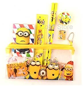 1 set kawaii pencil case cute Kids school supplies stationery set cartoon Minion pencil case& Bag for boys& girls