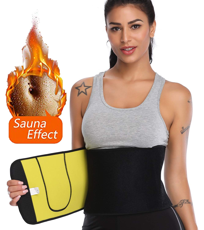 c698ca31bb Get Quotations · SLIMBELLE Sweat Waist Trimmer Neoprene Waist Trainer  Adjustable Ab Belt Sauna Band Weight Loss