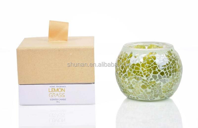 120g soy wax scented candle with mosaic bottle