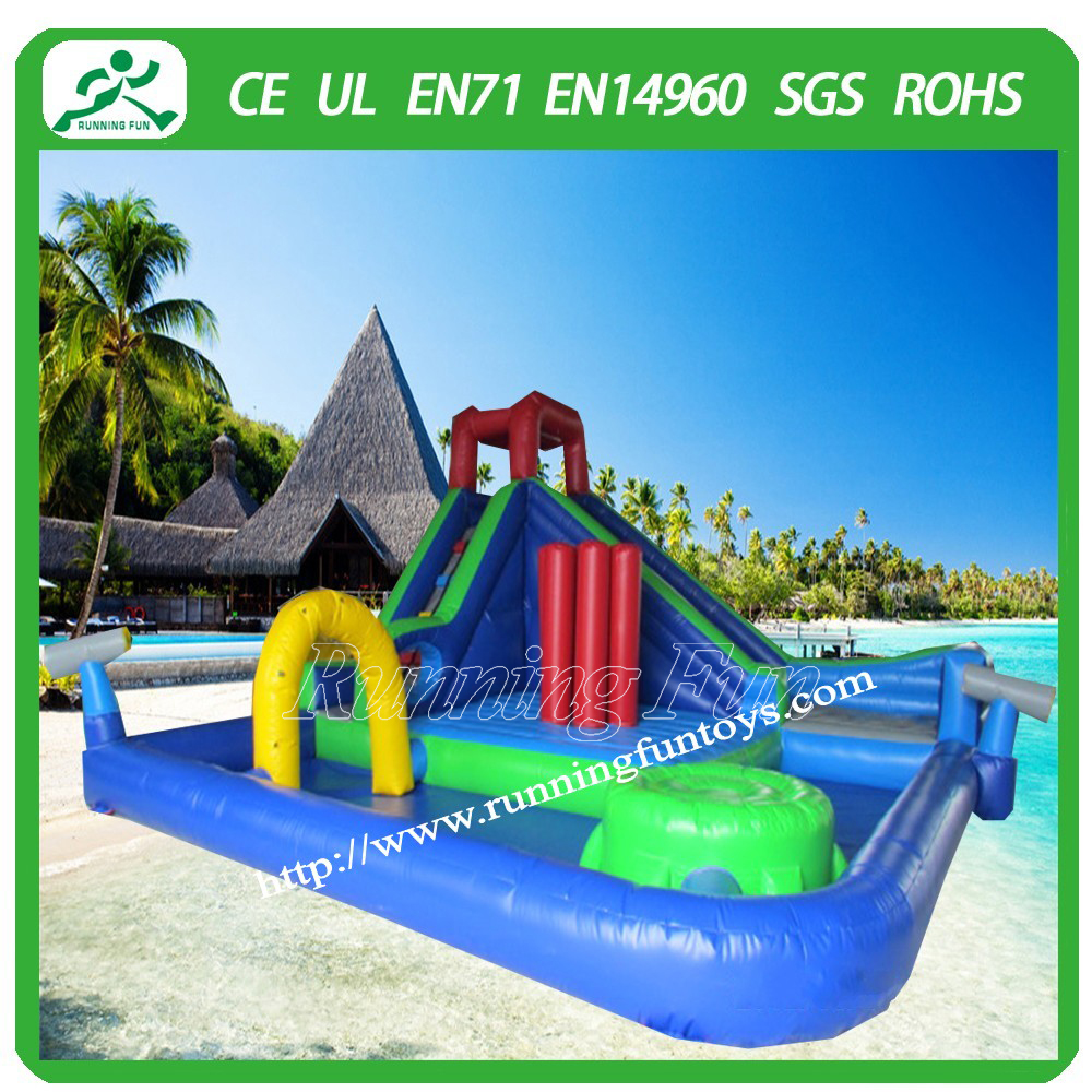 Inflatable amusement park giant water slide for adult , water slide with pool , inflatable water slide combo