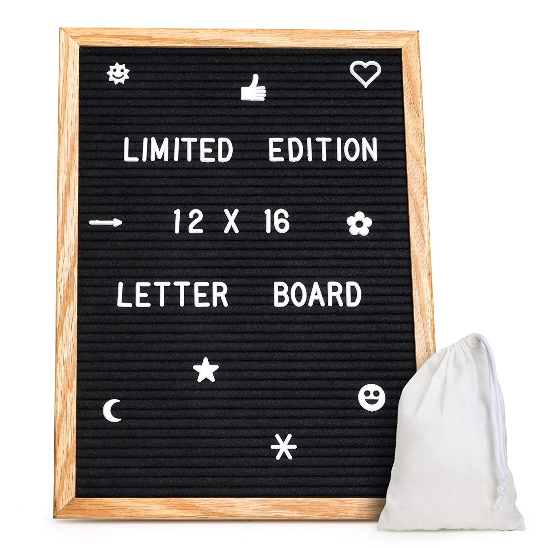 Black Letter Board 12x16. Changeable Letter Boards Include 680 White Plastic Letters & Oak Frame.