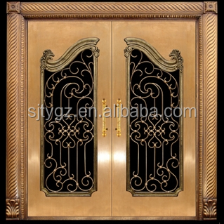Safety Wrought Iron Entry Doors Double Glass Front Door Made In China  Factory