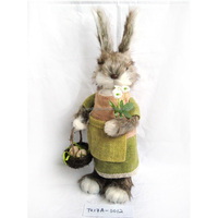 22.5cm Easter decoration cute FUR BUNNY with beautiful clothes