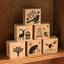 New Vintage Animal Series Wood Scrapbooking Stamp Wholesale Stamping Gift 6 Designs Label  Indexes & Stamps H0910