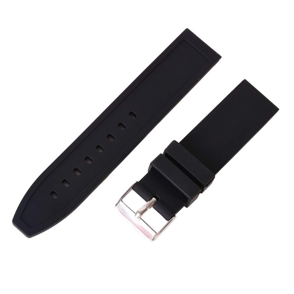 Wingbind Quick Release Soft Silicone Watch Strap Watch Band Replacement 16mm/18mm/20mm/22mm/24mm/26mm/28mm-Classic Black