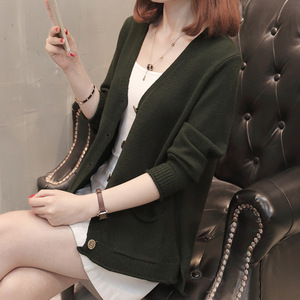 2019 new arrival deep v neck open front single breasted loose woman knit knee cardigan sweater coat