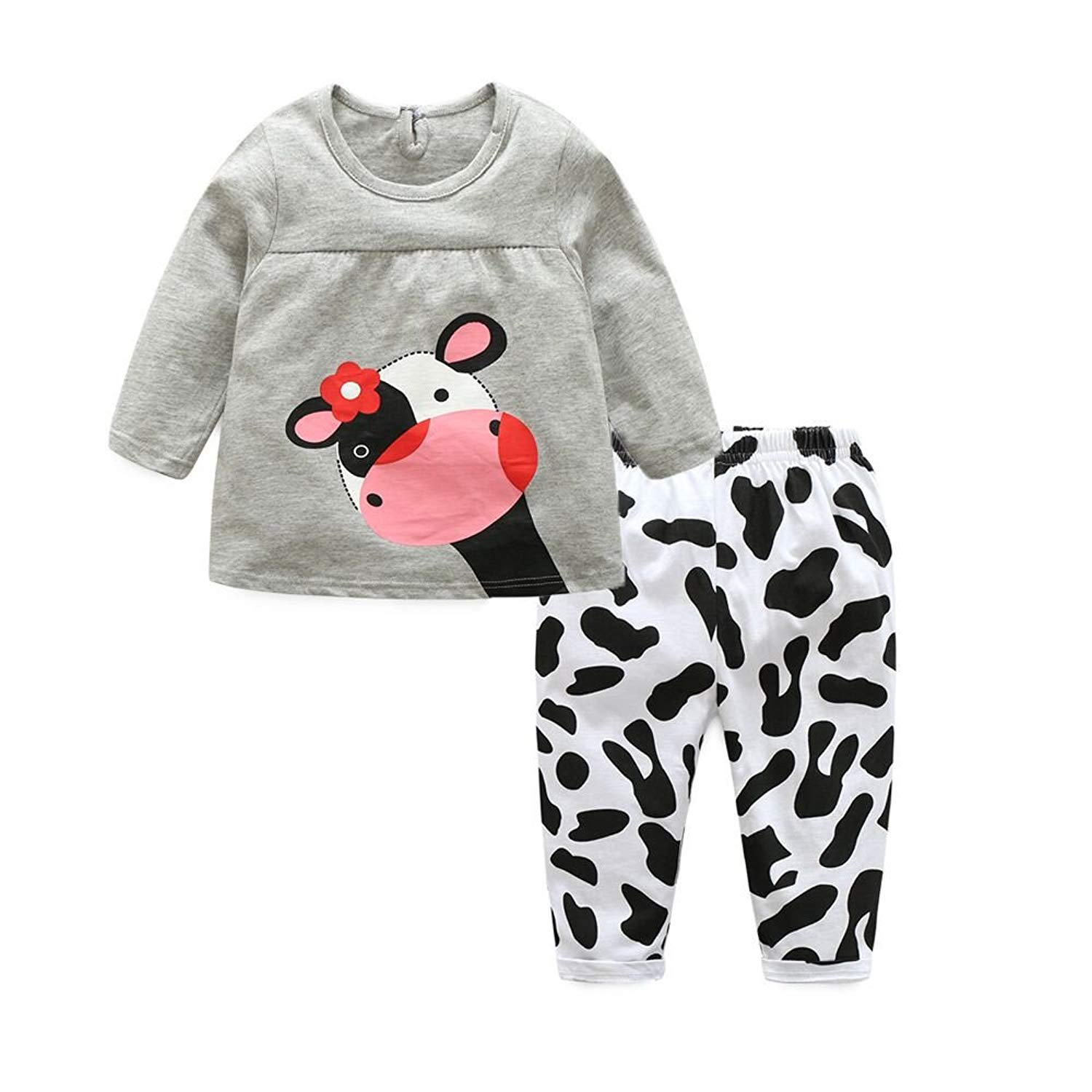 Moyikiss Studio Adorable Toddler Baby Girls Clothes Sets Cow Pattern Long Sleeve 2pcs Outfits