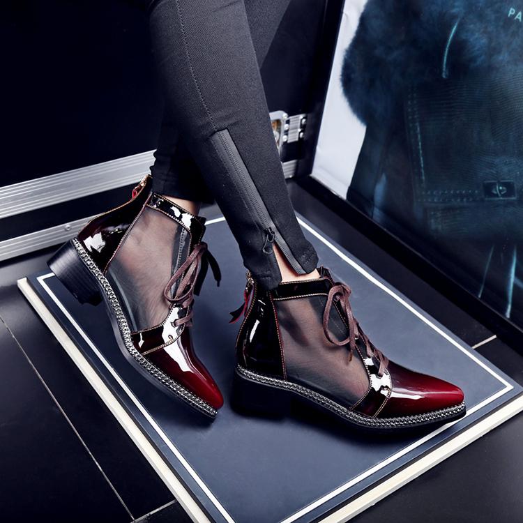 Ladies short boots color gradient fashion flat mesh maroon boots oxford gradient boots women rnr5ZcqFU