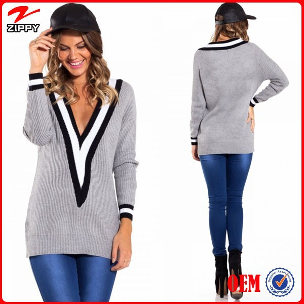 Fashion clothing v neck custom women sweater 2015