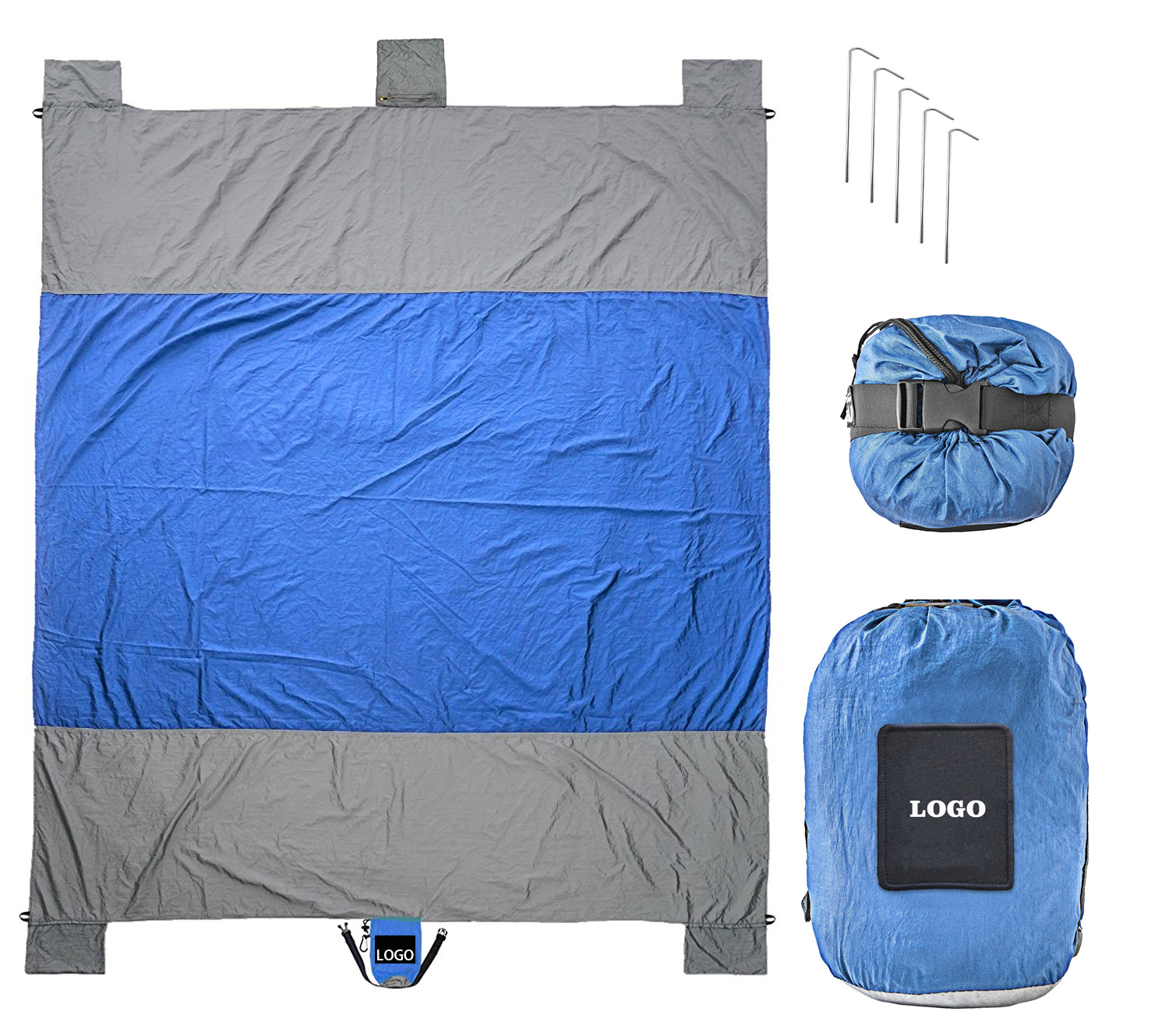 Sand Free Nylon Material Compact Outdoor Beach Blanket For Camping Travel