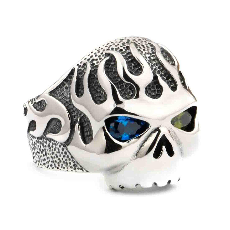 fac119a1b7a3 Get Quotations · LINSION Fire Skull Ring Blue Green CZ Eyes 925 Sterling  SilverMens Biker Ring 8D406