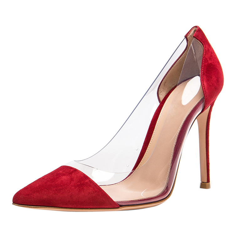 China wholesale female wedding <strong>shoes</strong> red clear stiletto pumps for women