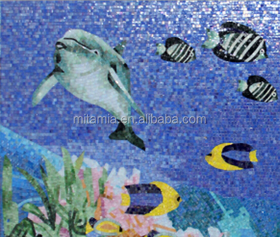 Fish pattern swimming pool mosaic tile mural prices manufacturers