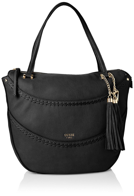 8043c781f7aa Get Quotations · Guess Womens Solene Leather Satchel Tote Handbag Black  Large