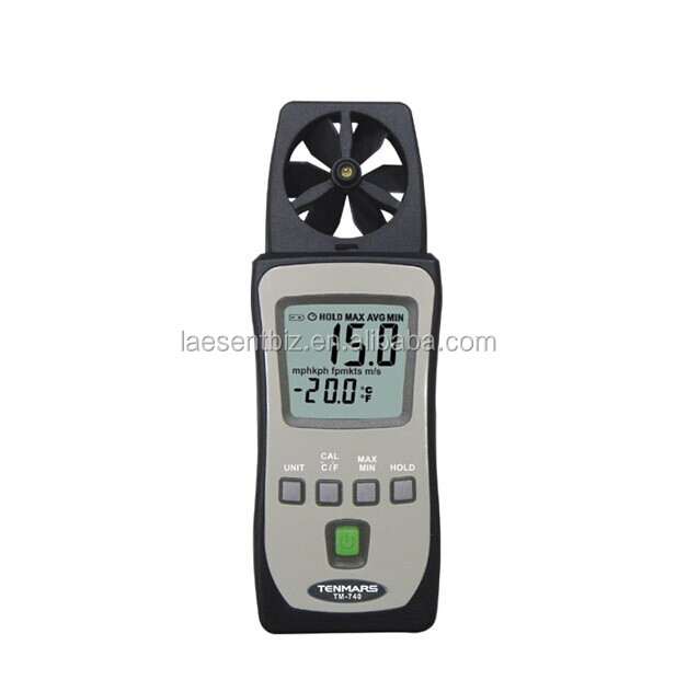 Mini Pocket Air Velocity Temperature Wind Speed Meter Airspeed Anemoscope Anemometer Tenmars TM-740 free shipping