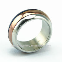 Stainless steel O ring with gold plated inner with letter laser