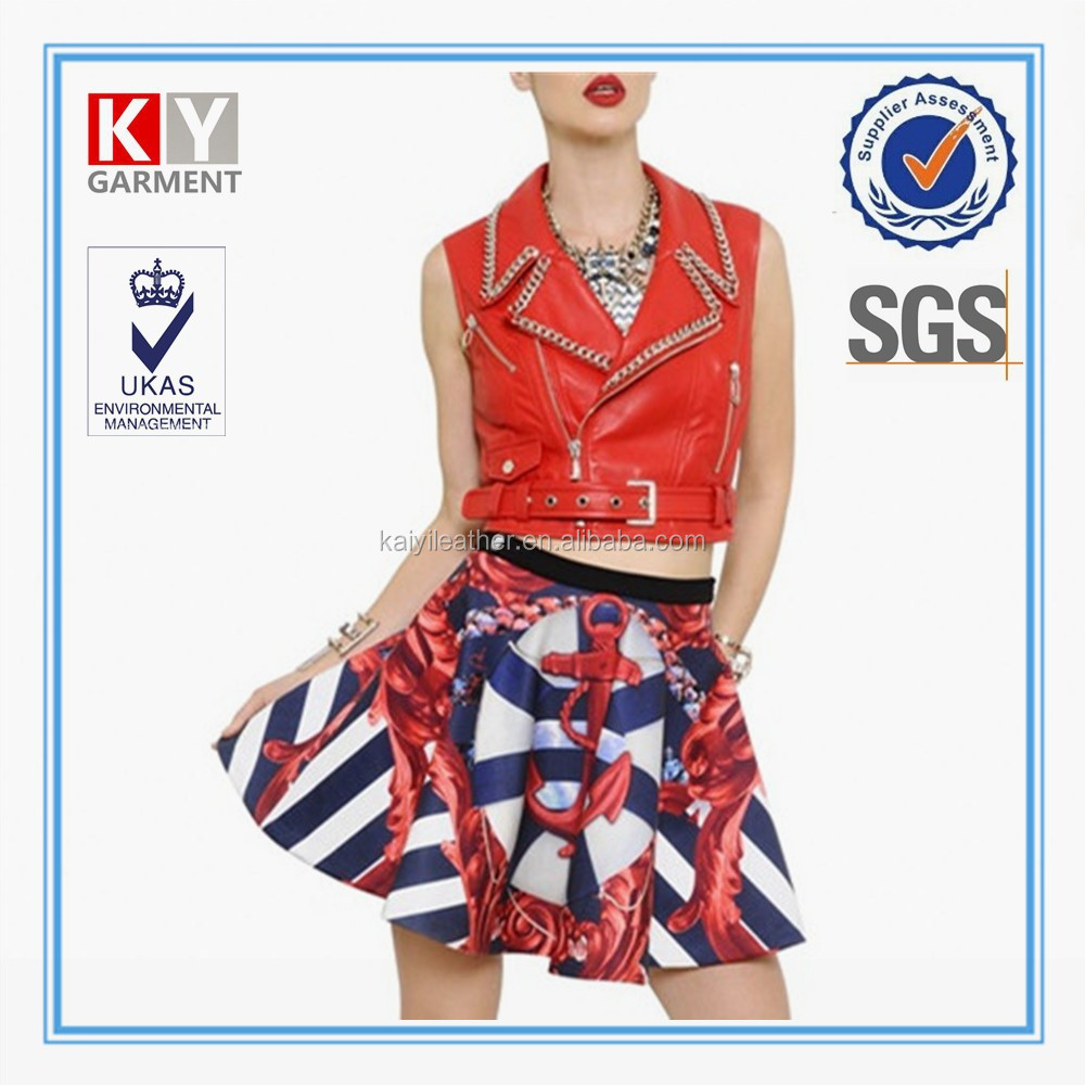 Fashion red cheap pu leather vest sleeveless jacket for women