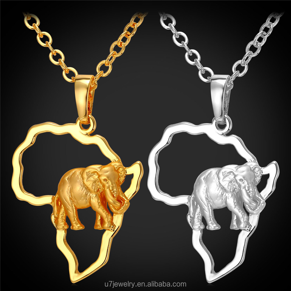 U7 2016 Africa continent Elephant Necklace 18K Real Gold Plated Women African Map Necklaces & Pendants Mens Jewelry