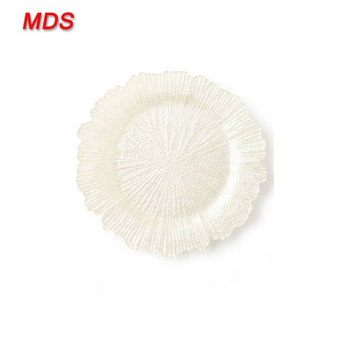 Wedding decoration textured wholesale white reef charger plate glass
