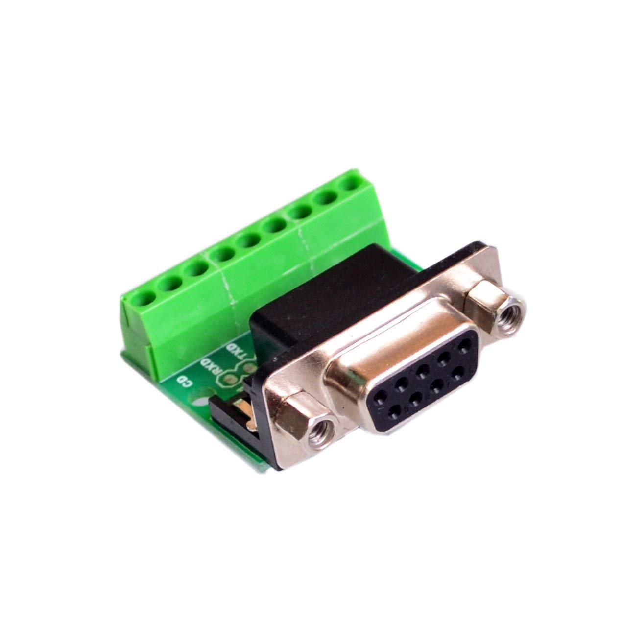 Bestol 10PCS/LOT DB9 RS232 Serial to Terminal Female Adapter Connector Breakout Board Black+Green