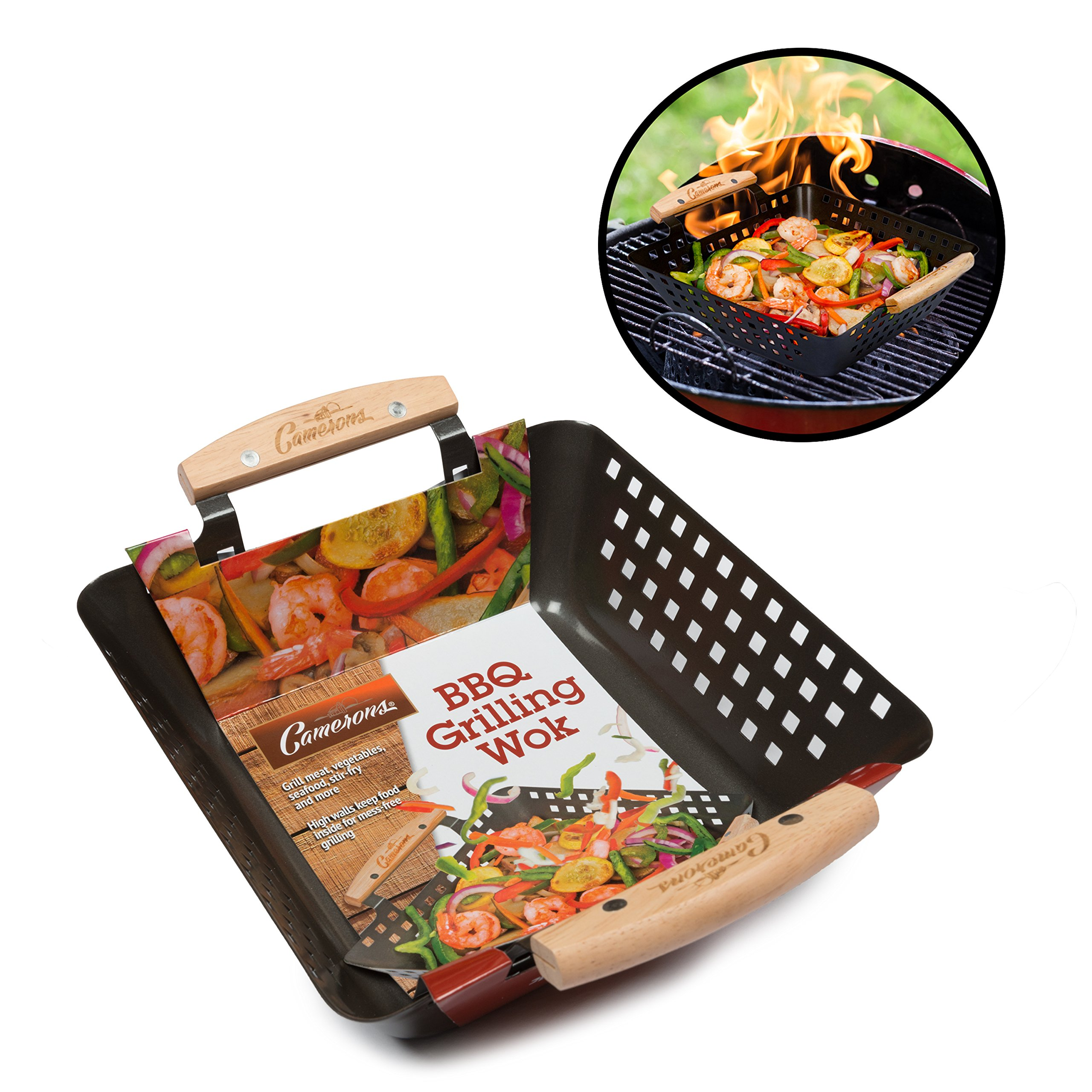 Camerons Products Grill Basket Non Stick Bbq Barbecue Grilling Wok W Heat Resistant Handles For Meat Vegetables And Seafood