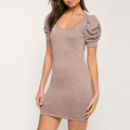 Women apparel clothing soft cotton material shirred sleeve bodycon ladies summer dress