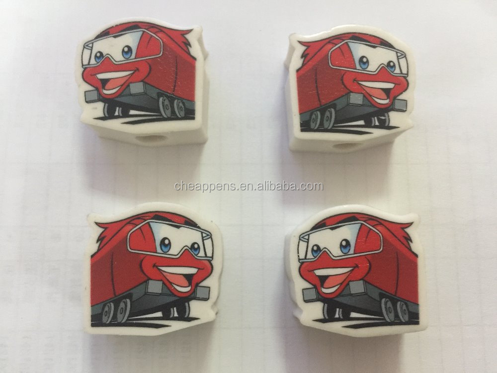 printed logo car model erasers with different color