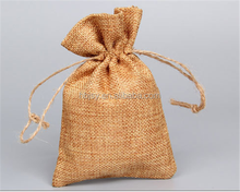 Cheap small importer Jute pouch for grocery packaging with logo and drawstring promotional jute burlap