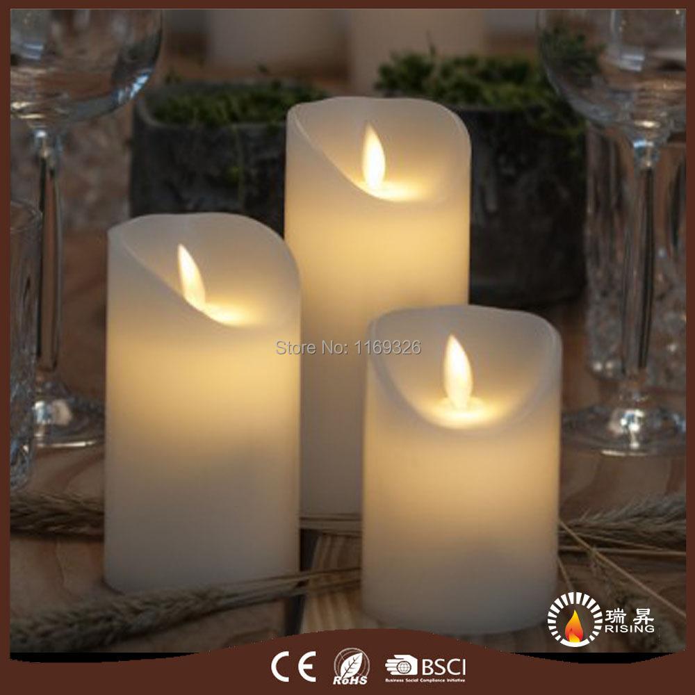 Christmas Decor. LED Pillar wax candles Dancing wick flame