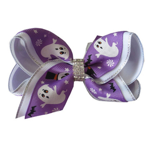 4 inch Two Tone Halloween Spook Bat Pumpkin Baby Ribbon Hair Bow Clip