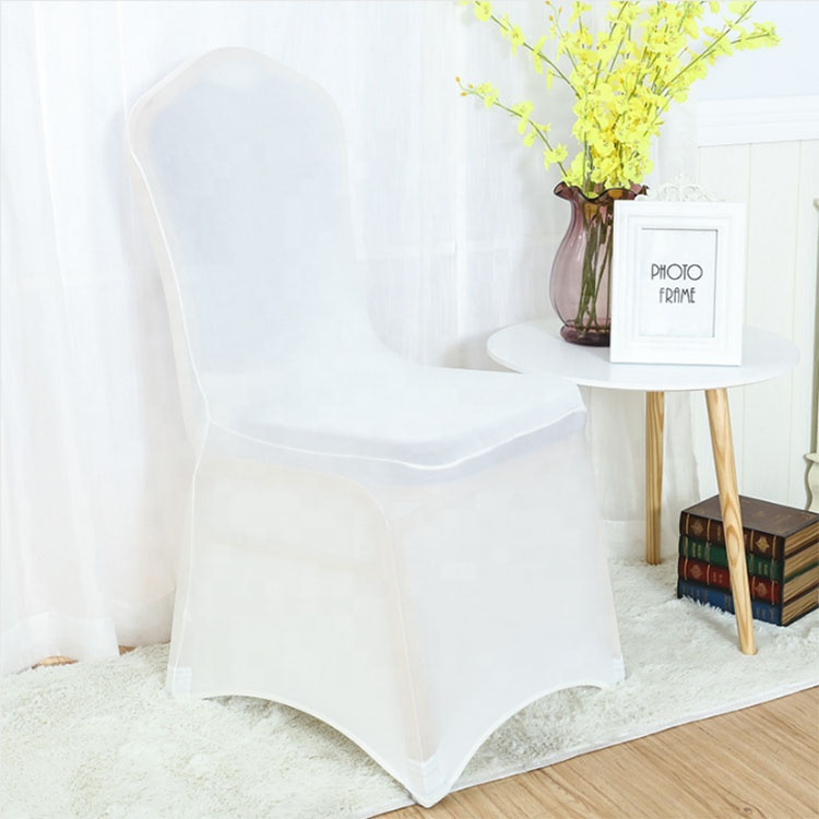 Factory high quality beautiful white color chair cover banquet spandex back in low price