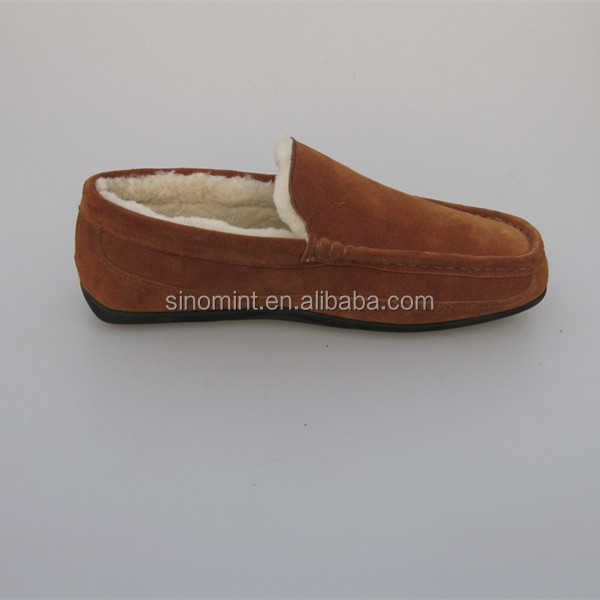 real fur and sheepskin lining moccasin slipper