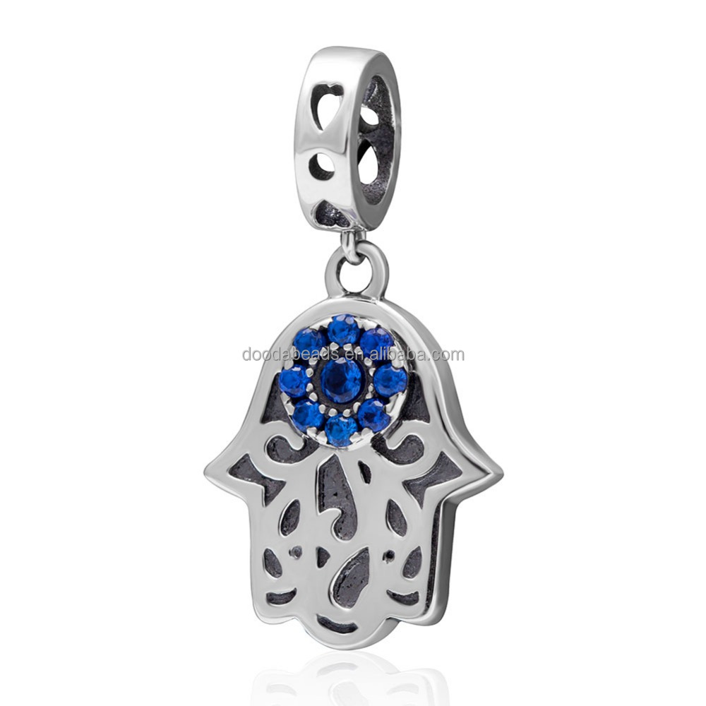 925 Sterling Silver Hamsa Hand Charm Pendant with Blue CZ