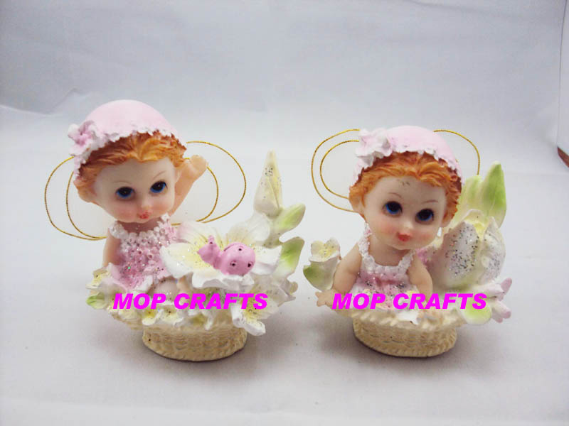 Polyresin pink color small fairy with wings -#MPBA0037