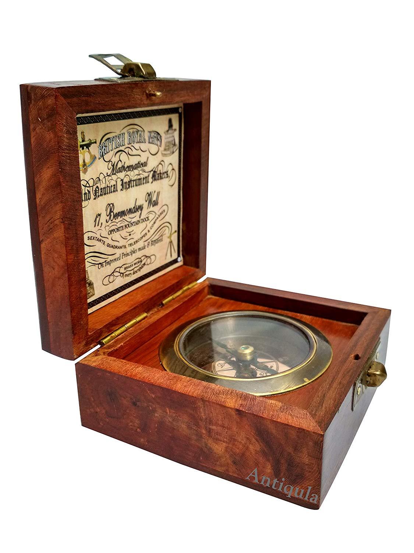 Handmade navigational tools proportional compass divider ruler and wooden box