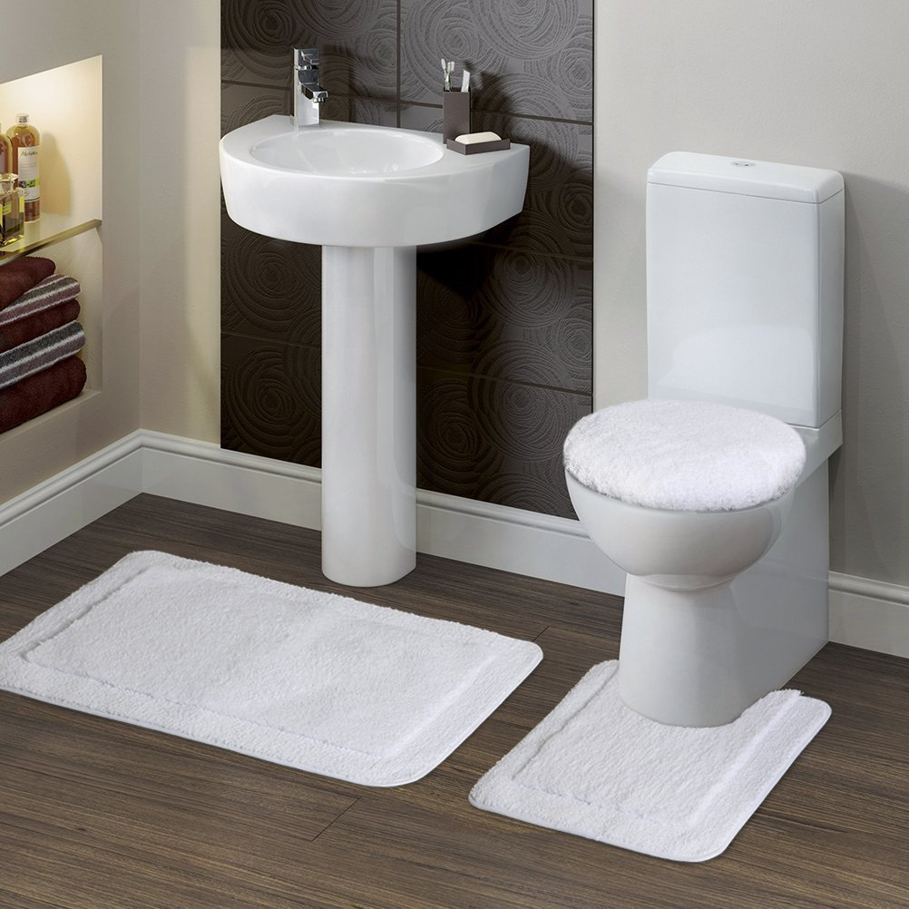 "Lifewit Soft 3 Piece Bath Toilet Mat Set 20""x32"" Bath Mat, 20""x20"" Contour Mat, 15""x15"" Lid Cover White"