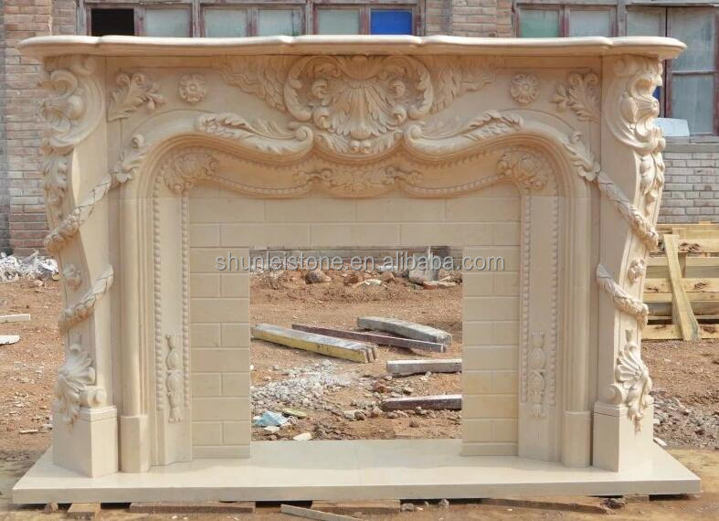 American style carved marble fireplace surroundings