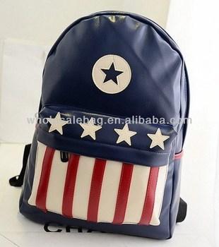 2014 Trend Designer Pu Leather Americanism Pu Backpack Bag School ...