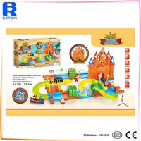 Pirate'castle electric train tracks for kids birthday toy