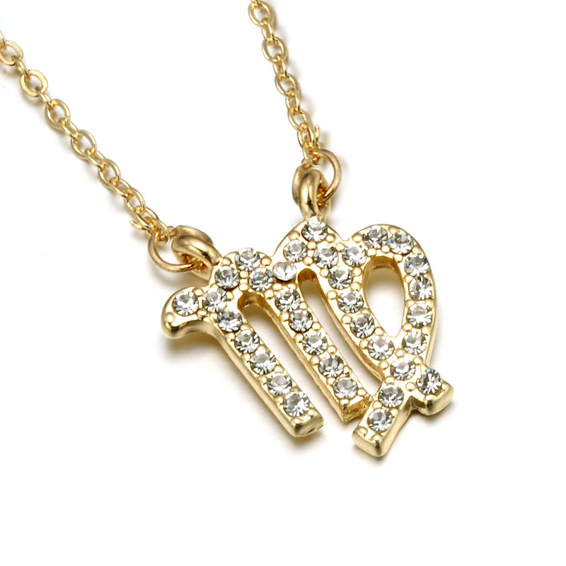 2018 MJ Jewelry New Design Hot Selling Zodiac 18K Gold Plated Micro Paved Crystal Virgo Necklace фото