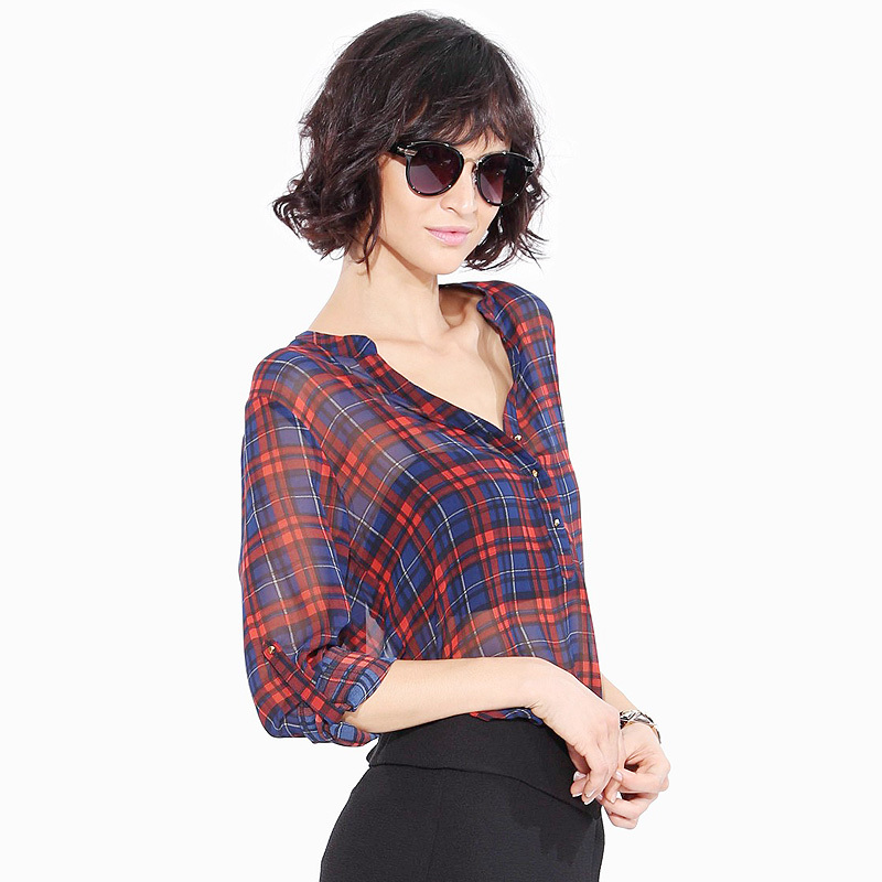 ac43107bcae Get Quotations · Autumn 2015 fashion MD-LONG long sleeve shirt women plaid  shirts classic Red blue grid