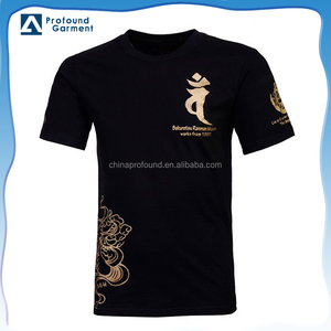 100% Cotton short sleeve gold foil printing t shirt for men wholesale china