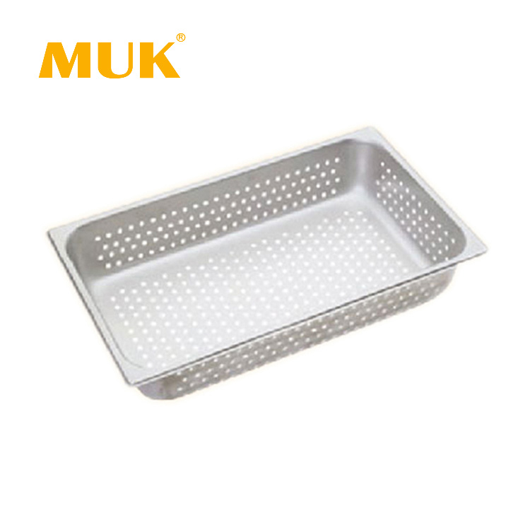 MUK hotel restaurant equipment 1/1 stainless steel food container perforated GN pan