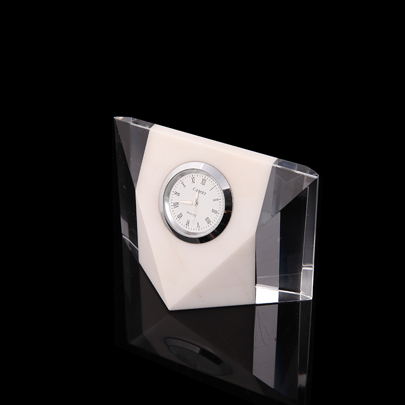 Personalized Table Decoration Small Glass Crystal Digital Desk For Business Souvenir Gift Wall Clock Big Size