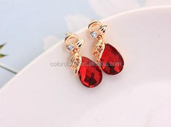 Ruby Earrings India Crystal Teardrop Earringsindian Diamond And